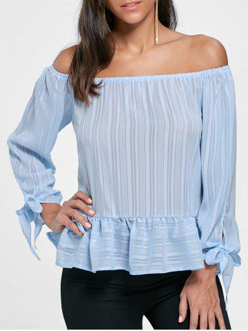 Outfits Flounce Off Shoulder Tied Blouse - S LIGHT BLUE Mobile