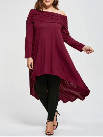 Outfits Plus Size Skew Neck Asymmetric Longline Top - 5XL WINE RED Mobile
