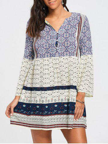Store V Neck Tribal Print Tunic Swing Dress - S COLORMIX Mobile