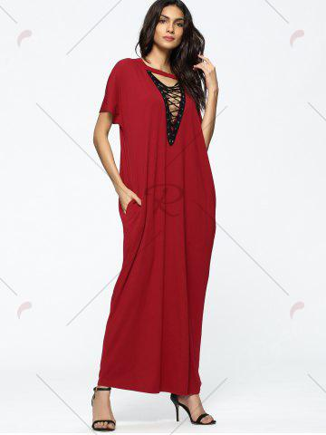 Choker Lace Up Loose Maxi Dress