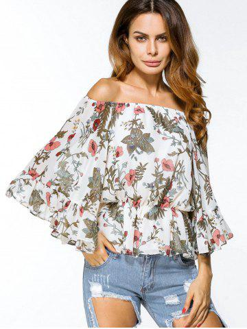 Online Off Shoulder Floral Chiffon Loose Blouse