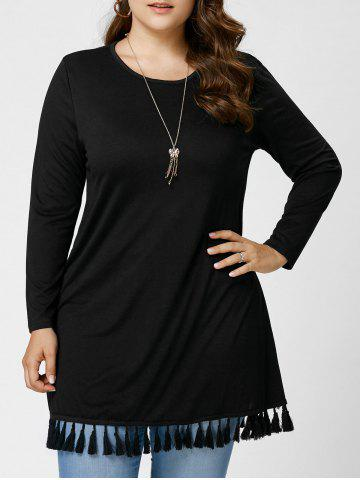 Affordable Long Sleeve Tassel Plus Size Tunic Top