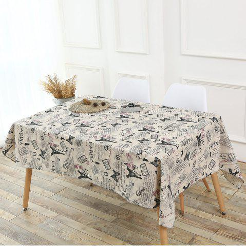 Fashion Kitchen Decor Tower Words Pattern Table Cloth