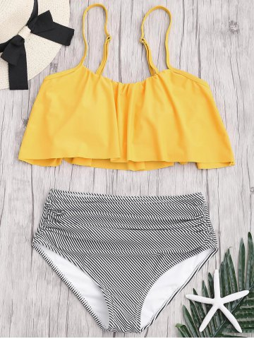 Affordable Plus Size High Waisted Striped Bikini Set