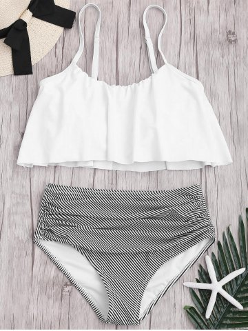 Discount Plus Size High Waisted Striped Bikini Set