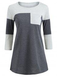 Color Block Pocket Tunic T-shirt