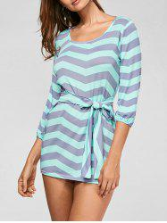 Zigzag Shift Tunic Dress with Belt - STRIPE