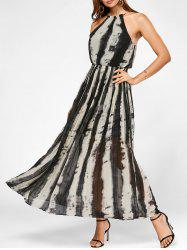 Long Chiffon Tie Dye Pleated Dress