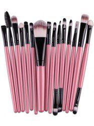 Stylish Multifunction 15 Pcs Plastic Handle Nylon Makeup Brushes Set - PINK
