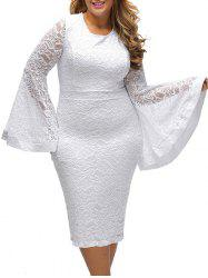 Flared Sleeve Plus Size Lace Pencil Bodycon Dress
