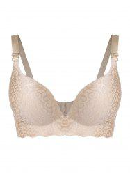 Plus Size Jacquard Cutout Seamless Wireless Bra -