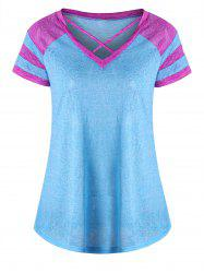 Lattice Neck Two Tone Top - LAKE BLUE