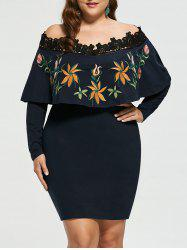 Off Shoulder Plus Size Embroidery Bodycon Dress