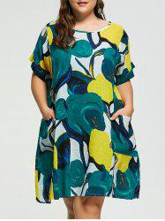 Plus Size Printed Casual Baggy Dress with Pockets