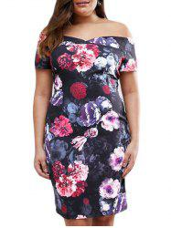 Floral Print Off Shoulder Plus Size Dress