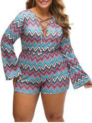 Zig Zag Lace Up Plus Size Romper - BLUE XL