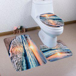 3PCS Soft Absorbent Sunset Beach Bathroom Rugs Set -