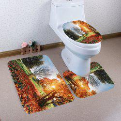 3Pcs Autumn Scenery Coral Fleece Bathroom Mats Set - COLORMIX