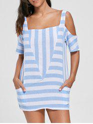 Cold Shoulder Pockets Striped Top -