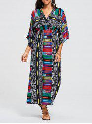 Tribal Print Empire Waist Surplice Maxi Dress