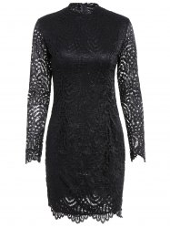 Long Sleeve Crew Neck Lace Bodycon Dress - BLACK