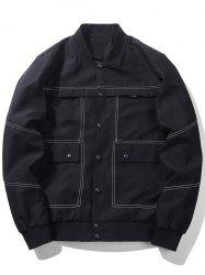 Button Up Bomber Jacket with Multi Pockets