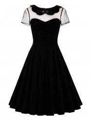 Lace Insert Short Sleeve Velvet 50s Dress