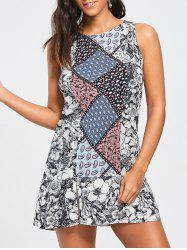 Patchwork Print Drop Waist Dress