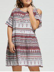 Open Shoulder Plus Size Bohemian Dress