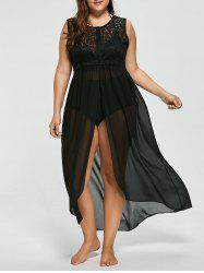 Plus Size Maxi Chiffon Beach Dress - BLACK