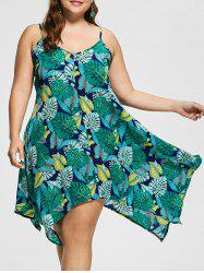 Spaghetti Strap Tropical Print Plus Size Handkerchief Dress