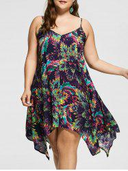 Spaghetti Strap Plus Size Printed Hankerchief Dress