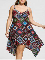 Geomertic Print Spaghetti Strap Plus Size Handkerchief Dress