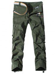 Pockets Embellished Zipper Fly Cargo Pants -