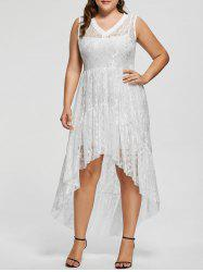 High Low Lace Plus Size Party  Dress - WHITE