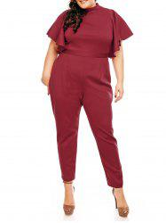 Plus Size High Waist Ruffles Sleeve Jumpsuit - WINE RED 3XL