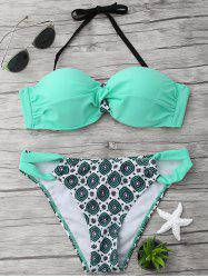 Halter Printed Twist Bikini Set