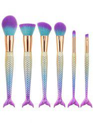6Pcs Gradient Color Mermaid Facial Makeup Brushes