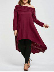 Plus Size Skew Neck Asymmetric Longline Top - WINE RED
