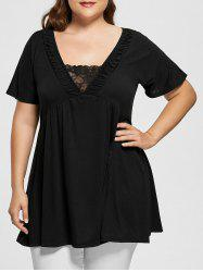 Plus Size V Neck Short Sleeve Tunic Top -