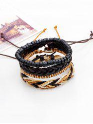 Faux Leather Beaded Woven Rope Bracelets Set