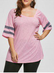 Plus Size Heather Skew Collar Tunic Top
