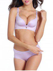 Push Up Back Closure Seamless Bra - LIGHT PURPLE