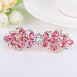 Hollow Out Flower Shape Rinestone Inlaid Barrette -