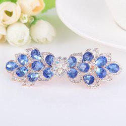 Hollow Out Flower Shape Rinestone Inlaid Barrette - BLUE