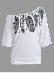 Skew Neck Feather Print Tee -