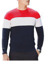 Textured Crew Neck Color Block Pullover Sweater - COLORMIX 2XL