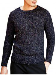Heathered Crew Neck Pullover Sweater - PURPLISH BLUE