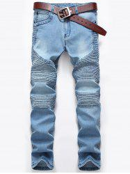 Slim Zip Fly Pleated Biker Jeans