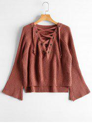 High Low Lace Up Flare Sleeve Sweater